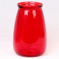Vase,red/purple 8-7/8 big belly glass fully auto machine made glass vase