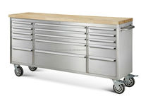 72 inch stainless steel drawer sliding roller cabinet with fine wooden top