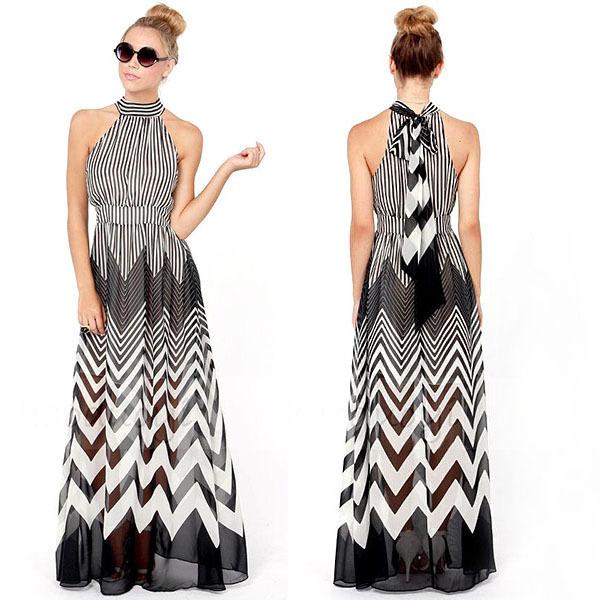 Women Striped Long Boho Dress Empire Waist Halter Neck Summer Beach ...