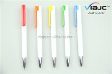 White barrel with colorful clip press ballpoint pen can be good writing