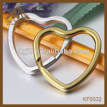 Fashion high quality heart shaped split key rings