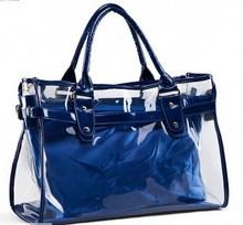2015 Fashion Plastic Leather Blue Transparent Outing Ladies Shoulder Bag Handbag Wholesale in China Shoulder Bag LF0188