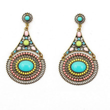 Bohemia Resin And Crystal Filled Alloy Heavy Earrings