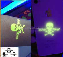 Temporary Water Transfer Safety Skull Glow in the Dark Tattoo Sticker