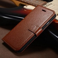 Easy carrying genuine leather for Iphone 6 plus wallet case with standing photo frame