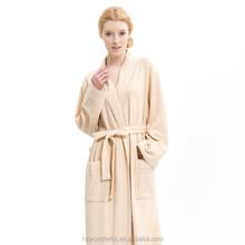 beige shawl collar waffle bathrobe /sleepwear for women