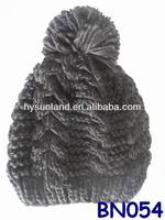 girl's black slouchy top pom cable beanie