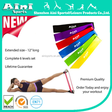 "Resistance Loop Bands - Premium Set of 6 Exercise Fitness Bands 12""x 2"" plus Workout Manual and Lifetime Guarantee"