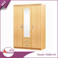 Foshan new design simple modern bedroom wardrobe latest wooden 3 door almirah design with mirror