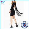 Dongguan Yihao Spring & Summer Lastest Design Fashion Solid Long Sleeve Backless Sexy Dress Tassel Casual Mini Dresses for Women