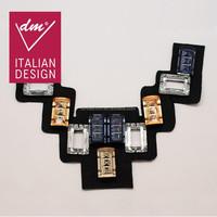 Sample design flocking fabric rectangle rhinestone dress collar neck designs
