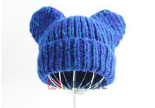 Bonito crochet infantil chapéu do bebê manguito malha chapéu com raccoon orelhas