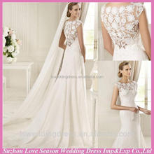 WD4035 Brand new mermaid wedding dress with high quality 2012 cap sleeve appliqued tulle wedding dress