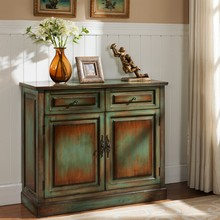 American country do old vintage hallway closet hollow out eat edge cabinet doors and Windows solid wood three large capacity on