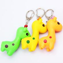 AN-023 cheap fashion Cartoon giraffe farm animal led light sound keychain