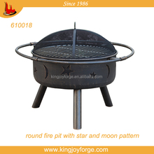 outdoor steel fire pit/round Firepit / patio fireplace with moon and star pattern