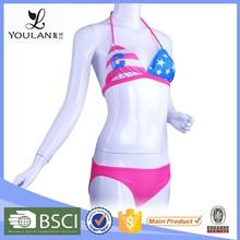 Logotipo personalizado brocado de la salud Sexy Bikini de la bandera americana
