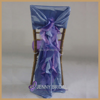 C003AJ universal self tie blue and purple organza ruffled banquet buy chair covers for sale