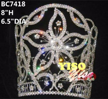 beautiful flower crystal pageant full crown