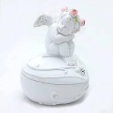 Resin pure angel figurine baby tooth box heart shape jewelry box