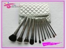 Delux beauty brush 12pcs metal cosmetic brush set in premium bag