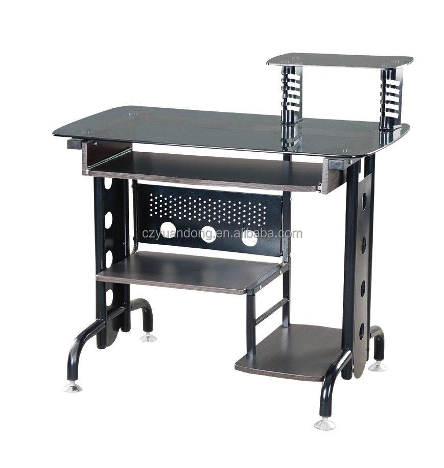 Black Glass Desktop puter Desk Pb Board Steel Frame