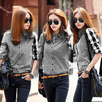 Office uniform designs for women pants and blouse Casual Button Down Checks Shirt Plaids Long Sleeve cotton stripe Blouse Tops