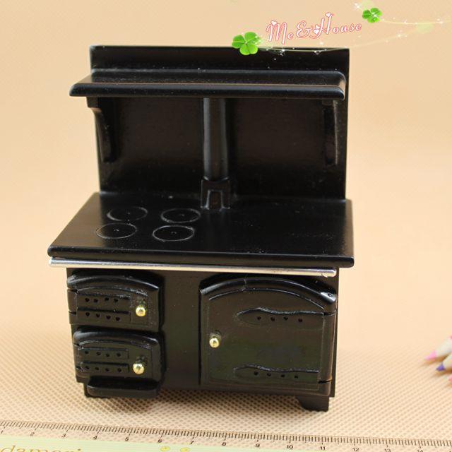 1/12 масштабе s деревянные старинные посуда черный плита миниатюрный Кукольный дом мебель