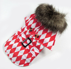 5XL Louis checkerboard dog fashion coat with oversized fur collar