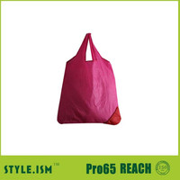 Pink strawberry shaped cheap nylon foldable shopping bag, standard size eco friendly shopping bag