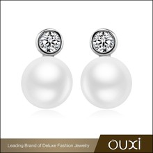 OUXI top design fashion imitation stud pearl long chain earrings