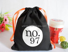 Small Cotton bleached black drawstring gift bag with logo(20150728J25)