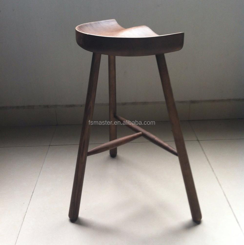 현대적인 스타일의 엉덩이 모양 애쉬 나무 3 다리 카운터 바 의자 ...