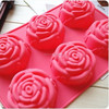 6-Cavity Rose Shape Silicone Mold for Homemade Soap, Cake, Cupcake, Bread, Muffin, Pudding, Jello