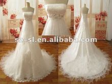 2012 Custom Made Tulle Empire Strapless Crystal Maternity Bridal Gown/Wedding Dresses SL-9302