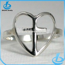 Top rated simple design heart and cross silver ring plain metal finger jewelry