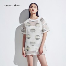2015 summer dot edging large grid perspective short-sleeved dress