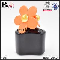 100ml crystal black perfume bottle with flower cap