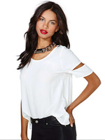 2015 hot sale apparel white tshirt hollow out sexy shirt wholesale china women's clothing ZC1846