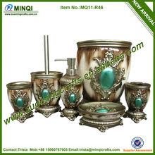 Antique green diamond bathroom accessories set for home decoration