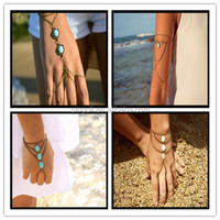 Boho Turquoise Beads Slave Bracelet Hand Bracelet Piece Ring Hipster Bronze Chain Bohemian Boho Turquoise Beads Hand Jewelry