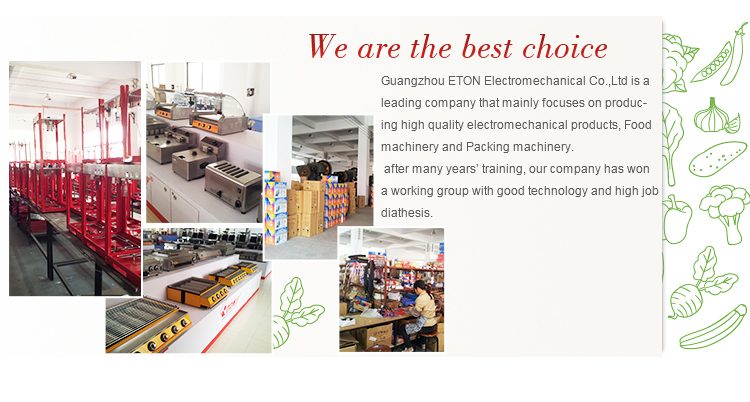 company 2 | Guangzhou Eton Electromechanical | Popcorn Machine | Hot Dog Roller | Fryer | Soya Milk Machine | Cotton Candy Machine | Snack Equipment | Panini Grill | Griddle | Deep Fryer | Warming Showcase | Ice Blender | Chocolate Fountain | Roaster