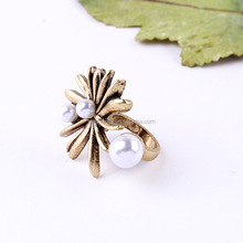 2015 Wholesale Fashion Pearl Stainless Steel Ring