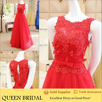 Wholesale Real Sample Appliqued Lace Red Oriental Evening Dress 2015
