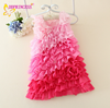Good quality gradient pink kid girls dresses many layer ruffles maxi dress for baby,latest frock designs for girls