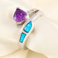 2015 18 carat gold plated purple zircon diamond ring