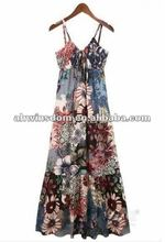 2012 fashion Bohemian big flower holiday women's dress