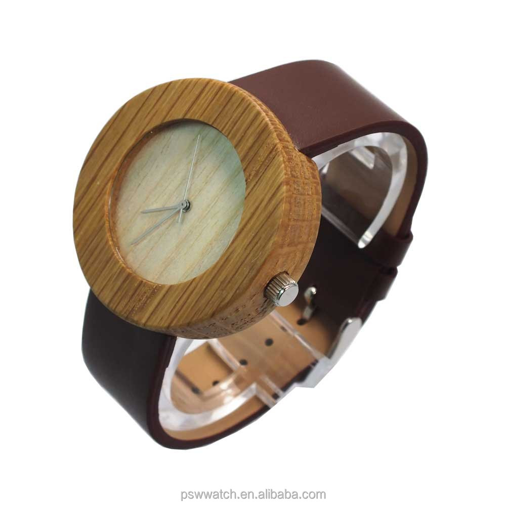 2015 new design wooden watch leather strap wooden watches waterproof wood watch