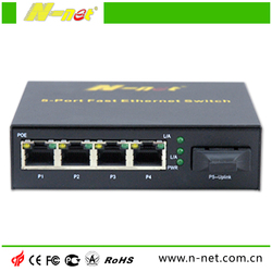 SC/FC/LC port single mode 4 poe switch 48v