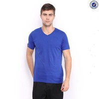 100% cotton and blue blank v collar t shirt
